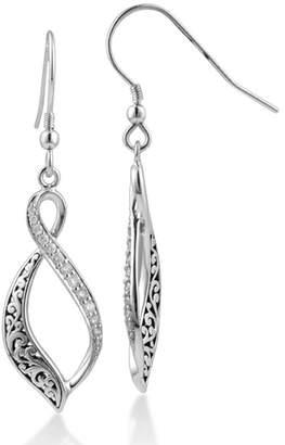 Lois Hill Sterling Silver Filigree & Pave Diamond Twisted Teardrop Earrings - 0.20 ctw
