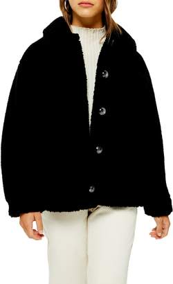Topshop Faux Shearling Hooded Coat