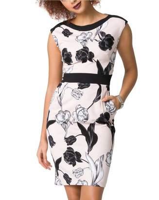 Le Château Women's Floral Print Knit Crêpe Shift Dress,XL