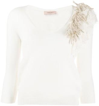 Twin-Set fringe detail v-neck jumper