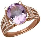 Lord & Taylor Amethyst, Diamond and 14K Rose Gold Ring, 0.75 TCW