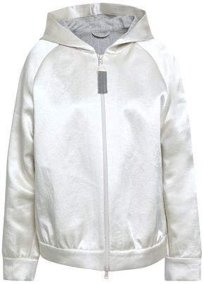 Brunello Cucinelli Linen-blend Satin Hooded Jacket