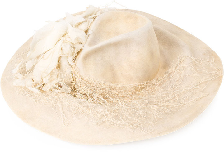 Horisaki Design & Handel frayed trim felt hat