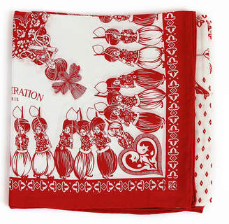 Belle Epoque L'illustration Red & White Elephant Silk Scarf