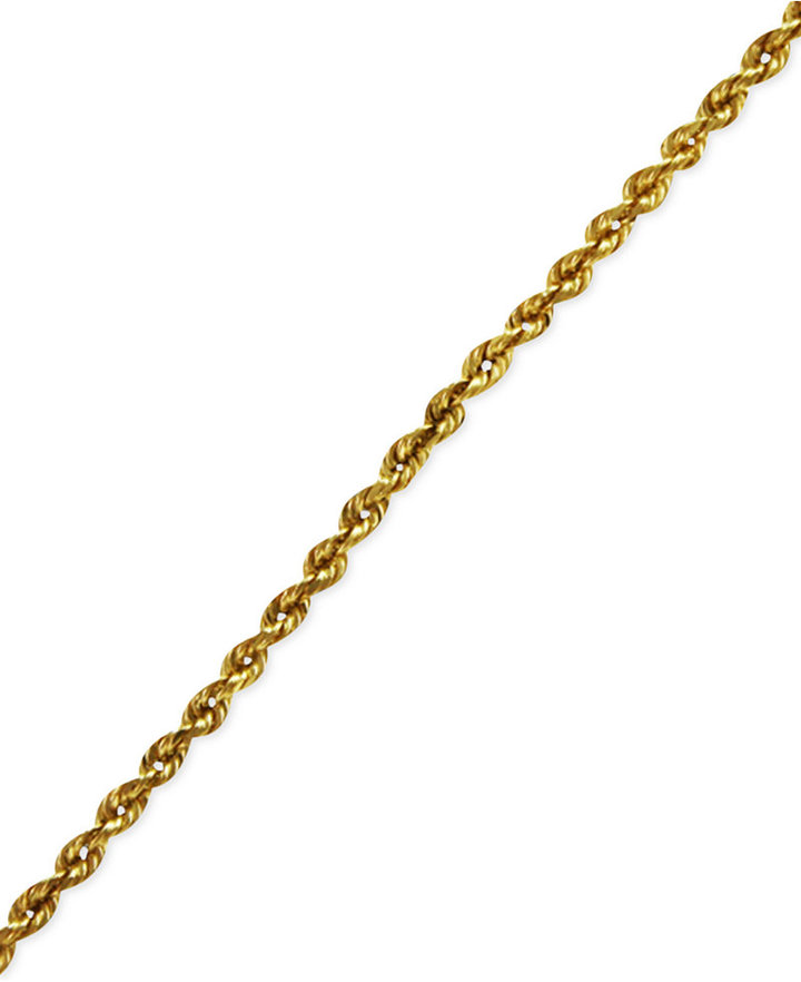 "14k Gold Anklet, 10"" Diamond Cut Seamless Rope"