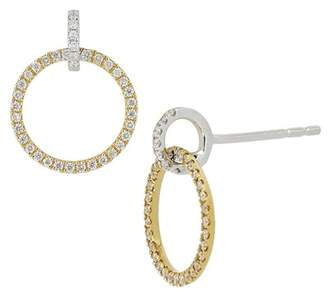 Bony Levy 18K Two-Tone Diamond Accent Circle Drop Earrings - 0.29 ctw