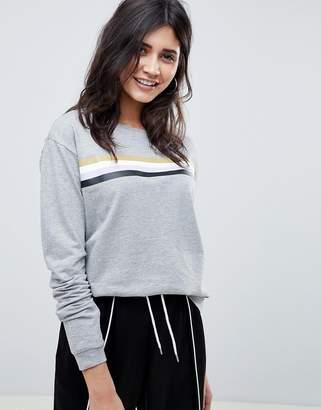 Noisy May Stripe Front Sweatshirt