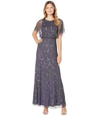 Adrianna Papell All Over Beaded Blouson Long Dress