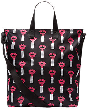 Lulu Guinness Medium Tape Lipstick Romy Tote Bag, Black/Hot Pink