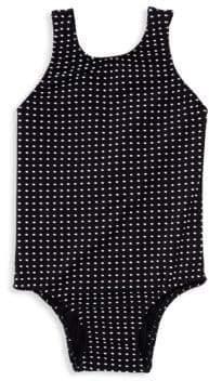 Shoshanna Girl's One-Piece Polka Dot Back Bow Swimsuit