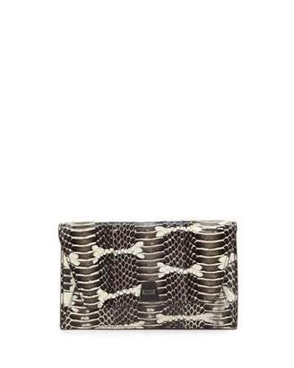 Akris Anouk Mini Watersnake Chain Envelope Clutch Bag, Ivory/Black