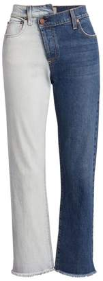 Alice + Olivia Jeans Two-Tone Reconstructed Boyfriend Jeans