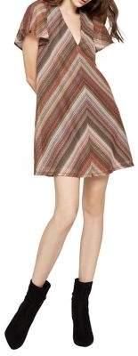 BCBGeneration Chevron Knit Back Lace-Up Mini Dress