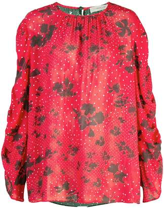 Preen Line mixed-print blouse