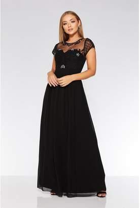 Quiz Black Chiffon Cap Sleeve Maxi Dress
