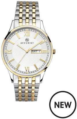 Silver And Gold Detail DayDate Dial Two Tone Stainless Steel Bracelet Mens Watch