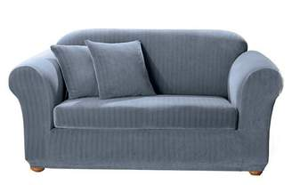 Sure Fit French Blue Stretch Pinstripe 2pc Sofa Slipcover