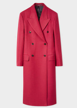 Paul Smith Women's Red Houndstooth Check Double-Breasted Wool Overcoat