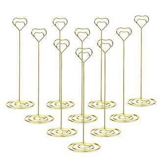 Jofefe 10pcs 8.6 Inch Tall Place Card Holder Table Number Holder Table Card Holder Table Number Stands with Heart Shap Photo Memo Clips for Wedding Favors