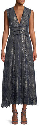 J. Mendel V-Neck Sleeveless Metallic Embroidered Lace Cocktail Dress