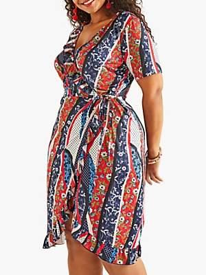 Yumi Curves Polka Dot Wrap Dress, Multi