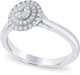 Macy's Diamond Halo Ring (1/4 ct. t.w.) in 14k White Gold