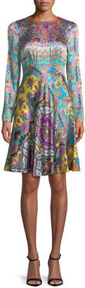 Etro Crewneck Long-Sleeve Paisley-Print Silk Dress