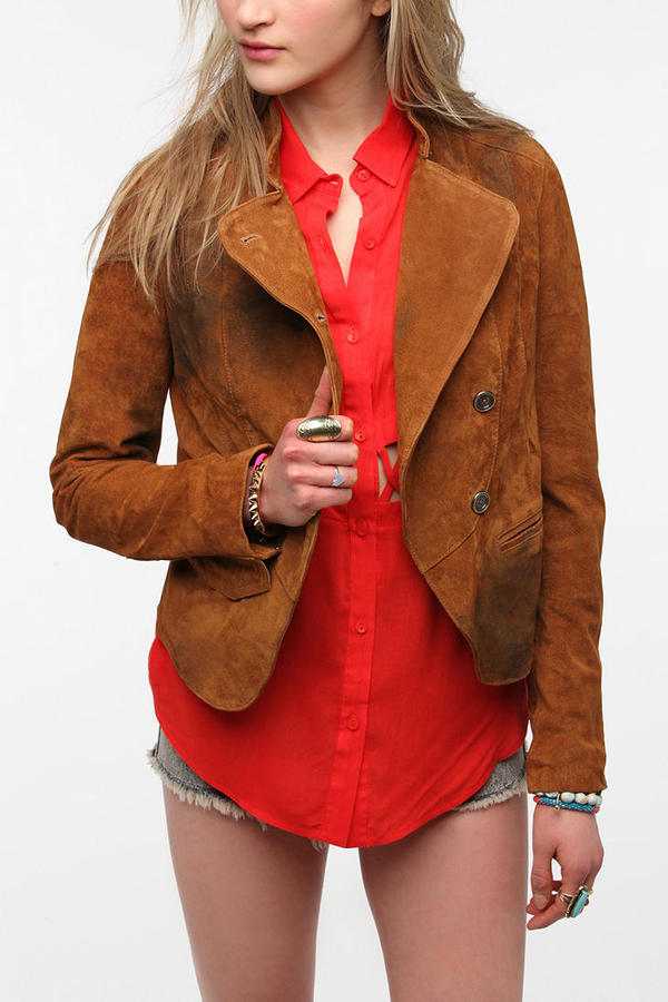 Sparkle & Fade Oil-Stained Suede Jacket