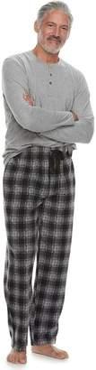 Chaps Men's Henley & Plaid Fleece Lounge Pants Set