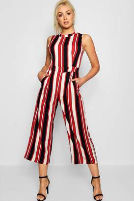 fd1284cdbd95 boohoo Red Striped High Neck Culotte Jumpsuit