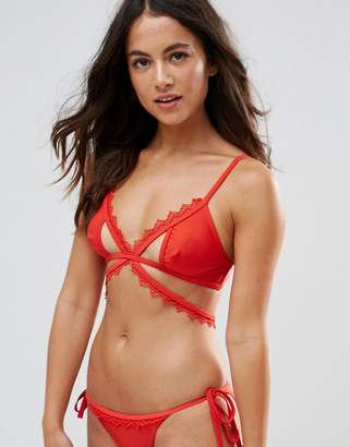 Playful Promises Crochet Trim Cut Out Strappy Bikini Top