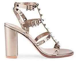 Valentino Women's Rockstud Metallic Leather Cage Sandals