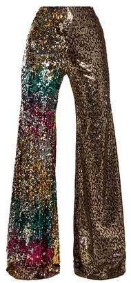 Halpern - Sequin Embellished High Rise Kick Flare Trousers - Womens - Animal