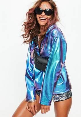 Missguided Blue Metallic Wind Breaker Jacket