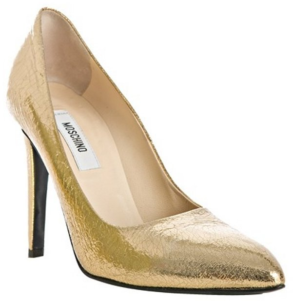 Moschino gold crackled leather pumps