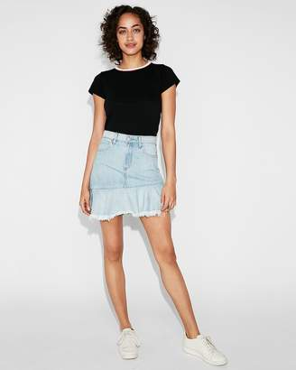 Express High Waisted Ruffle Denim Mini Skirt