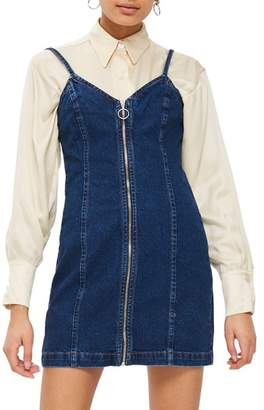 Topshop Zip Through Denim Body-Con Dress