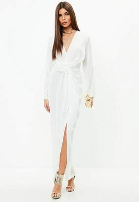 Missguided White Plunge Wrap Front Maxi Dress