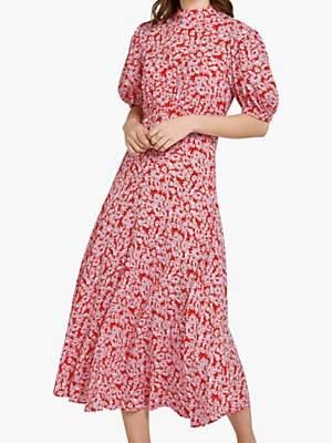 Ghost Luella Midi Dress, Shadowed Daisy Red