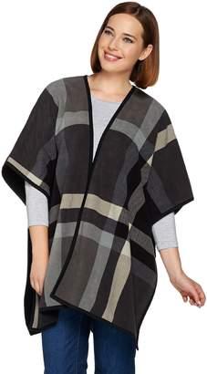 Denim & Co. Plaid Printed Reversible Open Front Fleece Poncho