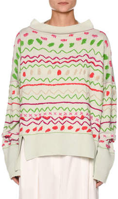 Agnona Fair Isle Boat-Neck Oversized Embroidered Sweater