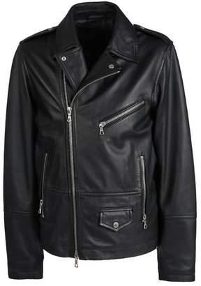Pretty Green Zip through Leather Biker Jacket