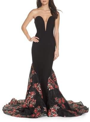 Mac Duggal Plunge Floral Jacquard Mermaid Gown