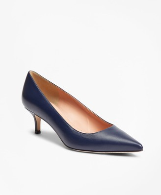 Brooks Brothers Leather Point-Toe Kitten-Heel Pumps