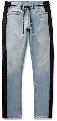 Off-White Slim-Fit Logo-Appliqued Jersey-Trimmed Denim Jeans