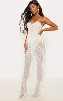 PrettyLittleThing Black Spotty Mesh Sheer Maxi Dress