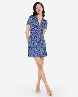 Express Printed Button Front Collar Dress
