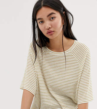 Weekday base boxy t-shirt in beige and white stripes
