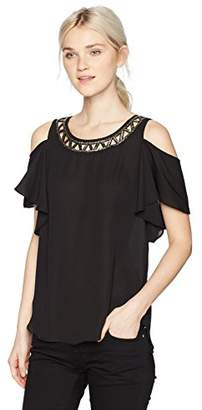Amy Byer A. Byer Cold Shoulder Scoop Neck Top (Junior's)
