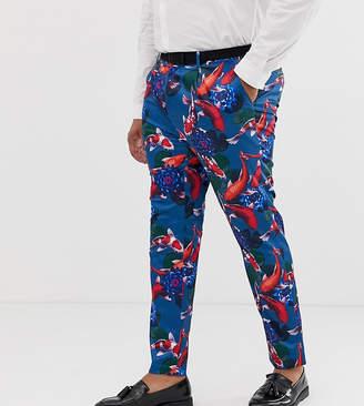 Asos Design DESIGN Plus skinny tuxedo suit trousers in fish print